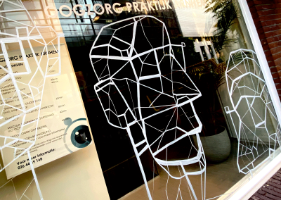 Gangster glasses   chalk on glass, 2020