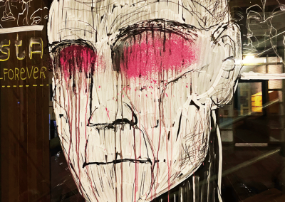 Rozet head   chalk on glass 2020