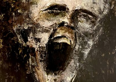 Scream - acrylic paint on paper/wooden panel - 65 x 50 cm